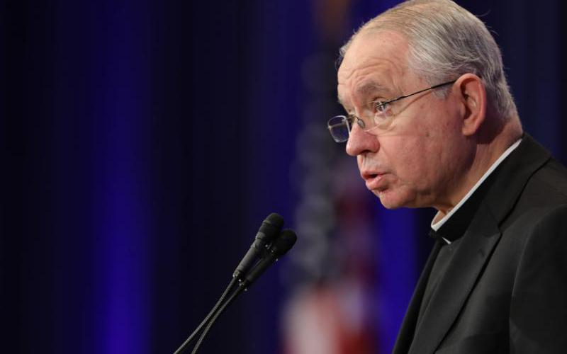 Archbishop Jose H. Gomez of Los Angeles, vice president of the U.S. Conference of Catholic Bishops, speaks during the fall general assembly of the USCCB in Baltimore Nov. 11, 2019.