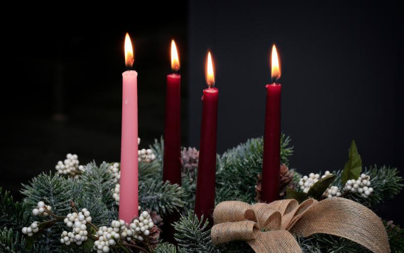 Advent candles and a wreath help bring focus to the time before the coming of our Lord.