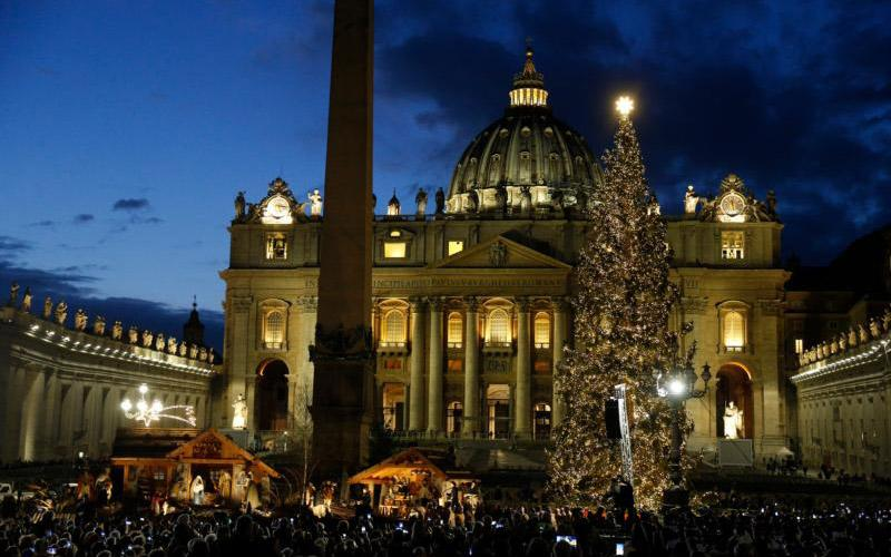 The Christmas tree sparkles after a lighting ceremony in St. Peter's Square at the Vatican Dec. 5, 2019.