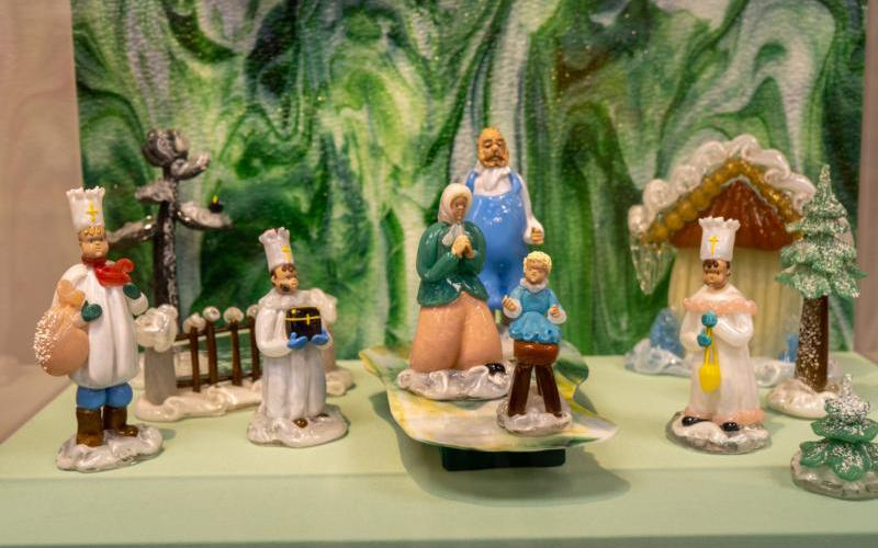 A hand-blown glass Nativity scene from Hungary