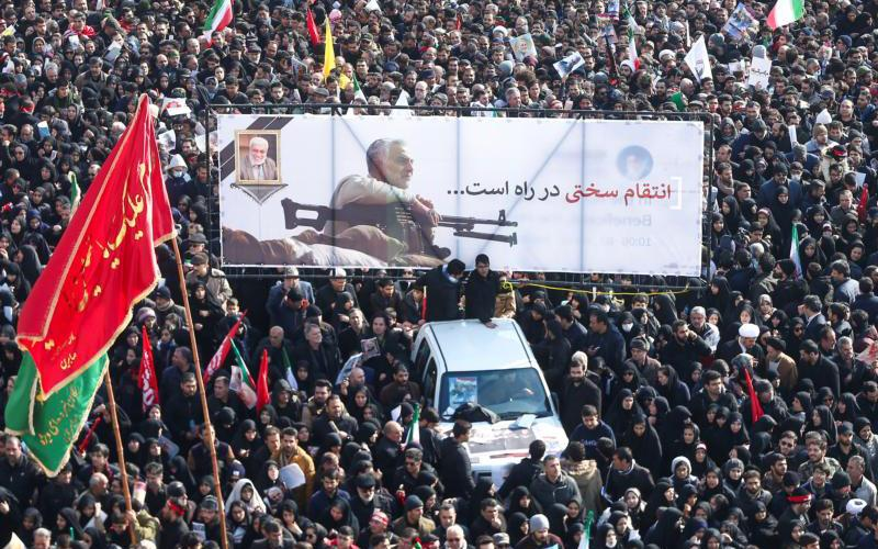Mourners attend a funeral procession for Iranian Maj. Gen. Qassem Soleimani and Iraqi militia commander Abu Mahdi al-Muhandis in Tehran, Iran,