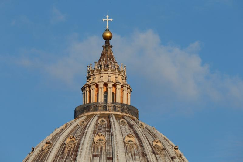 The dome of St. Peter's Basilica is pictured at the Vatican.