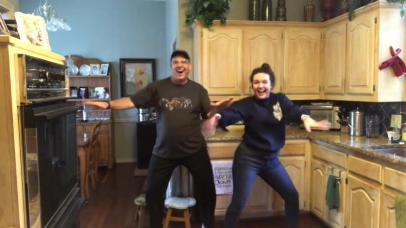 In a screen grab from a viral video posted March 21, 2020, Ali Hoffman dances with her father, Michael, in their Carrollton, Texas, home in an effort to spread joy and humor to families who are increasingly being told to self-isolate amid the coronavirus (COVID-19) pandemic.
