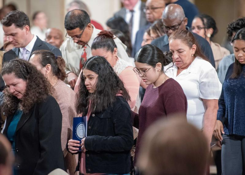 People at the Basilica of the National Shrine of the Immaculate Conception in Washington participate in the Rite of Election and Call to Continuing Conversion March 1, 2020.
