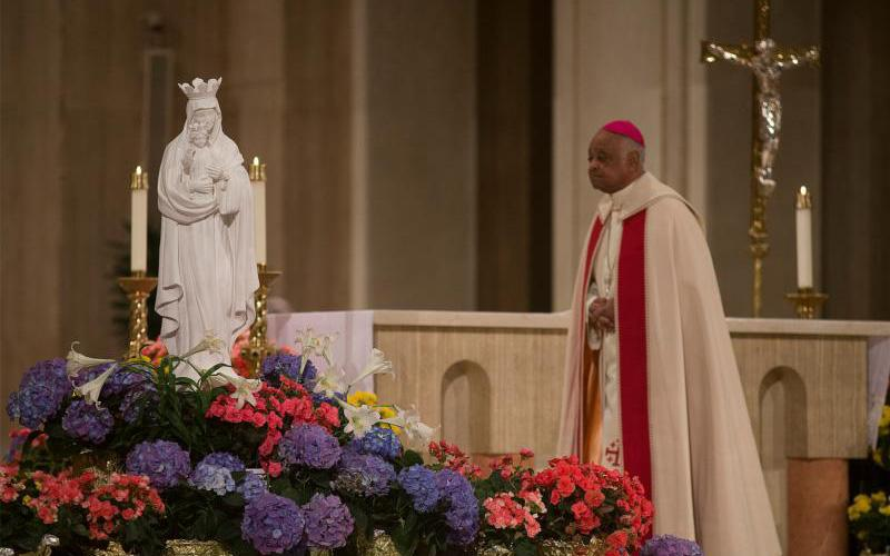 Washington Archbishop Wilton D. Gregory leads a special liturgy in renewing the consecration of the U.S. to the care of our Blessed Mother at the Basilica of the National Shrine of the Immaculate Conception in Washington May 1, 2020, during the coronavirus pandemic.