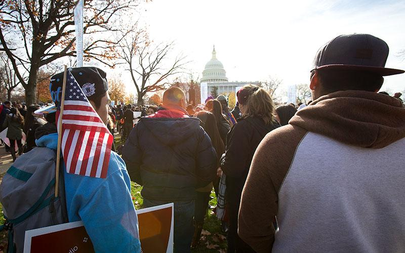"Supporters of comprehensive immigration reform, including a path to citizenship for ""Dreamers,"" gather near the U.S. Capitol in this 2017 file photo."