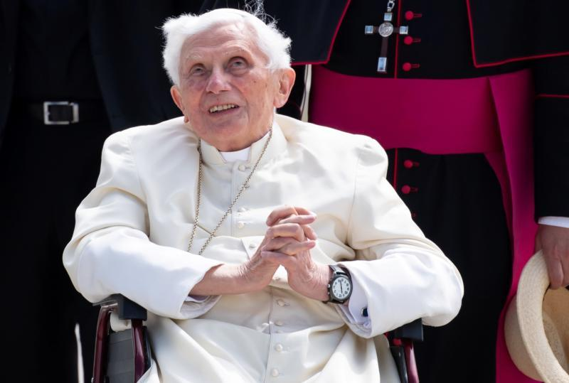 Retired Pope Benedict XVI smiles at Germany's Munich Airport before his departure to Rome June 22, 2020.
