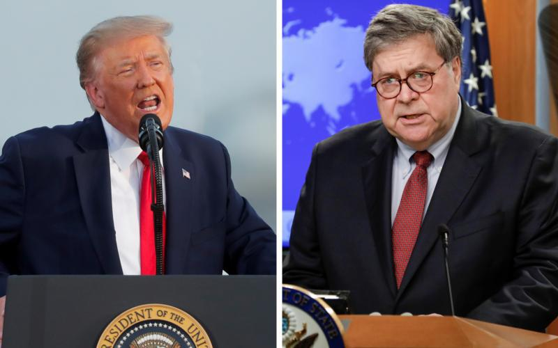 President Donald Trump and Attorney General William Barr are seen in this composite photo.