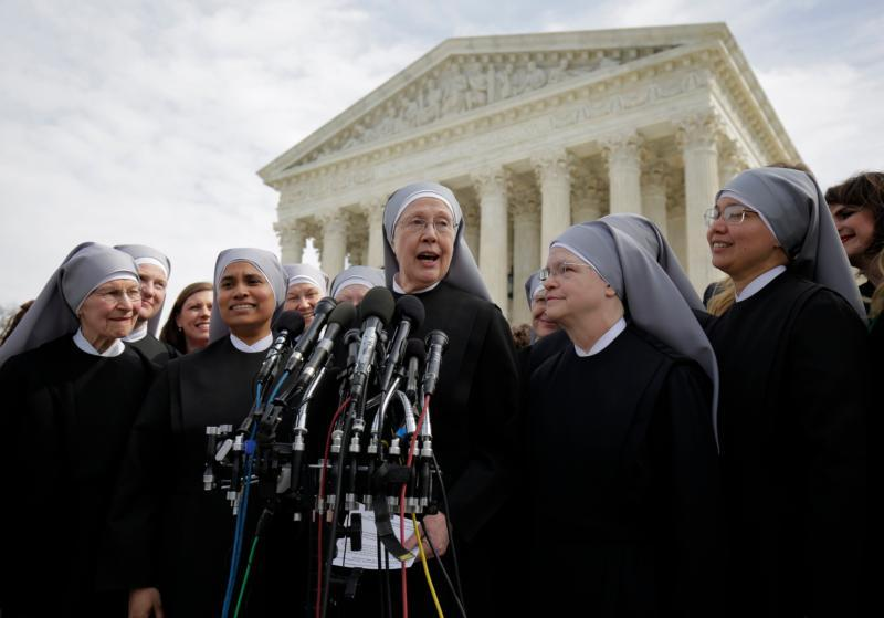 In this 2016 file photo, Sister Loraine Marie Maguire, mother provincial of the Denver-based Little Sisters of the Poor, speaks to the media outside the U.S. Supreme Court in Washington.