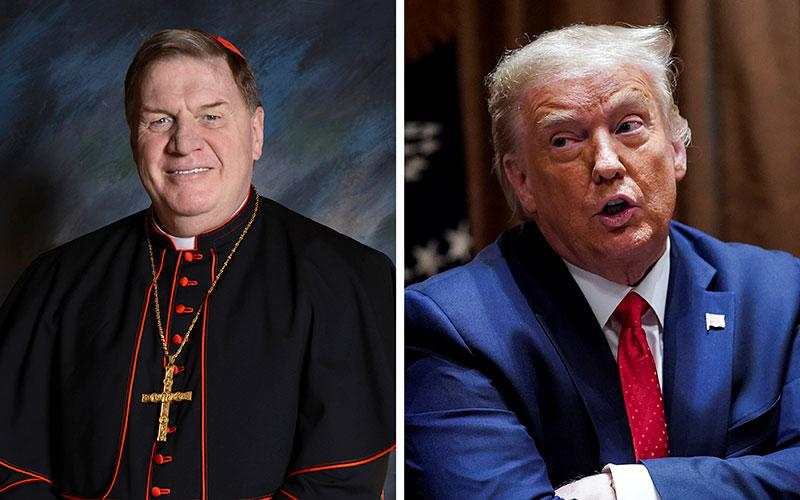 Cardinal Joseph W. Tobin of Newark, N.J., and President Donald Trump are seen in this composite photo.