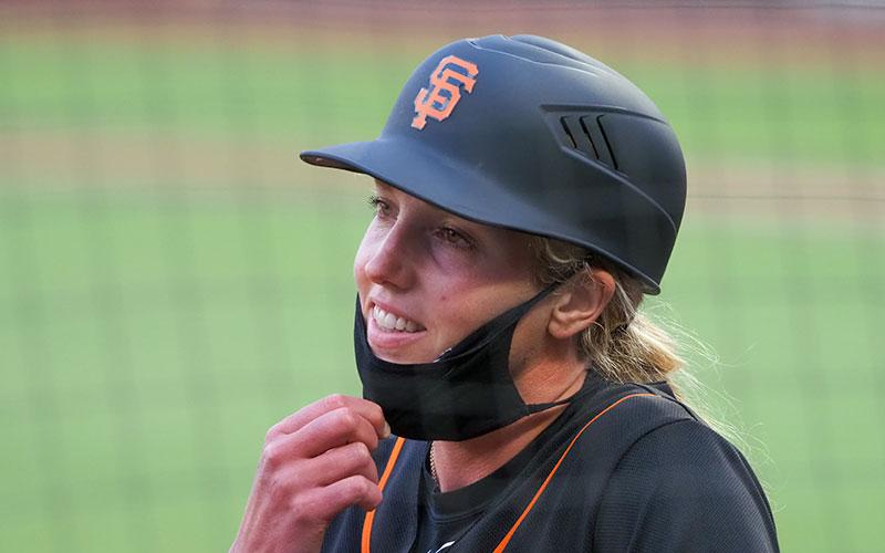 Alyssa Nakken, a coach with the San Francisco Giants, is seen at Oracle Park during an exhibition game against the Oakland A's July 21, 2020.