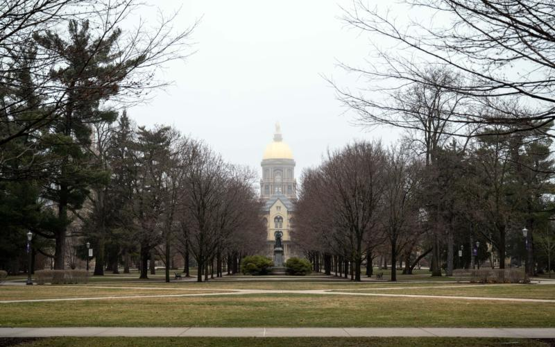 The University of Notre Dame campus in South Bend, Ind., is seen March 19, 2020.