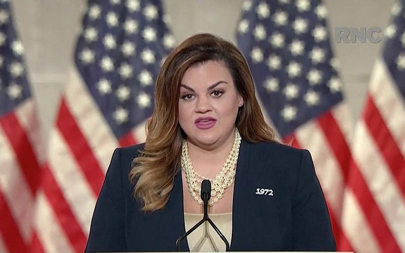 Abby Johnson speaks during the Republican National Convention broadcast from Washington Aug. 25, 2020