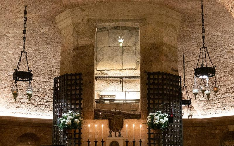 The tomb of St. Francis of Assisi is pictured in the crypt of the basilica named after the saint in Assisi, Italy, in this March 11, 2019, file photo.