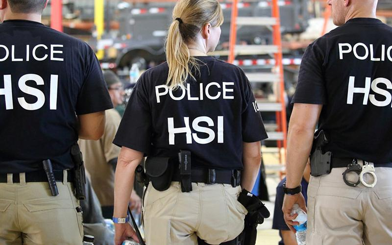 U.S. Immigration and Customs Enforcement's Homeland Security Investigations officers are pictured in this 2018 file photo.