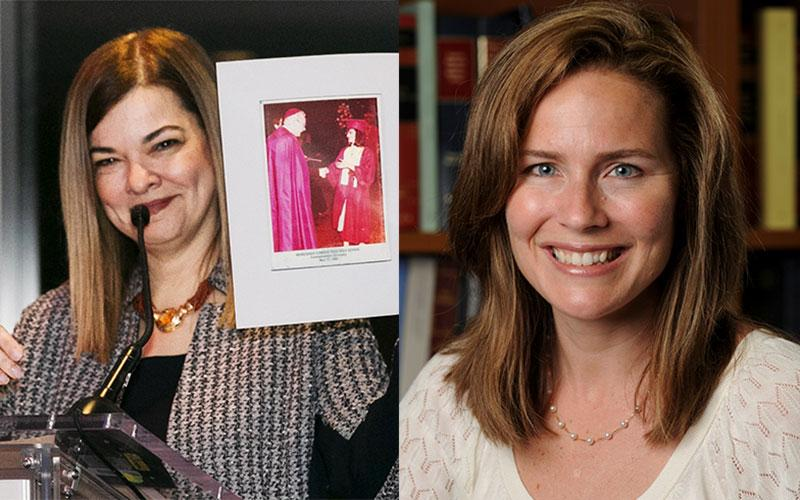 Justice Barbara Lagoa (left) and Amy Coney Barrett (right) are on President Donald Trump's list of of potential nominees to fill the U.S. Supreme Court seat left vacant by the Sept. 18, 2020, death of Associate Justice Ruth Bader Ginsburg.