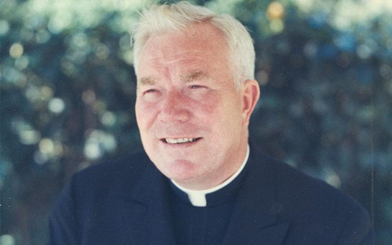 "Father Patrick Peyton, a Holy Cross priest, who popularized the adage ""The family that prays together stays together,"" is seen during the 1960s."