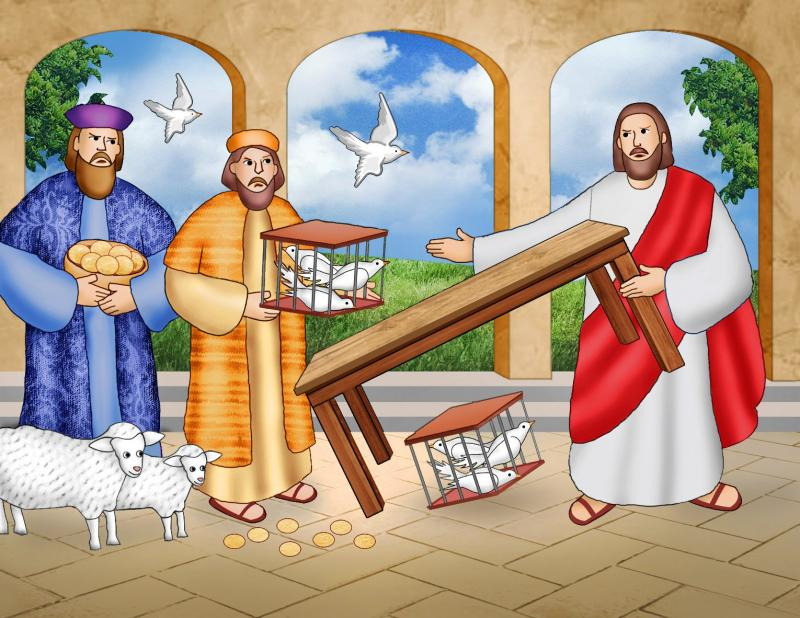Jesus went to the Temple in Jerusalem during the Passover and drove out the money-changers and others who were using his Father's house as a marketplace.