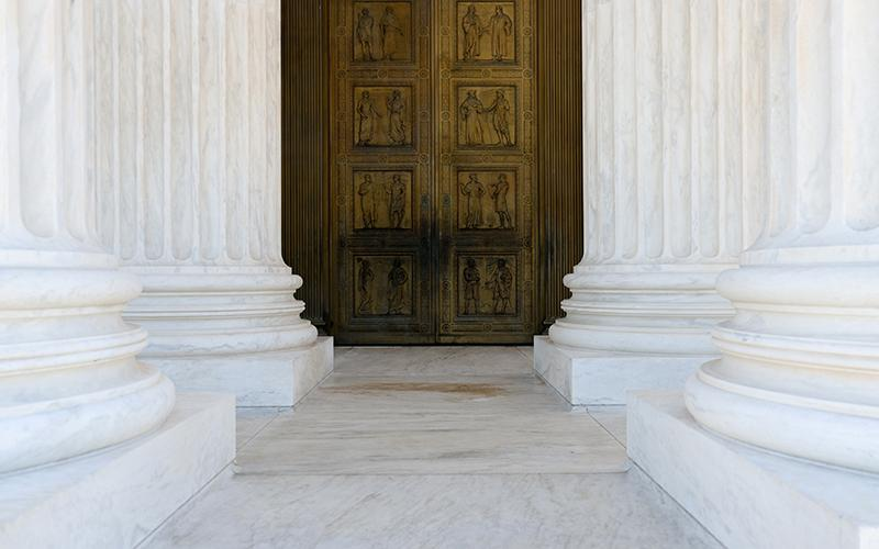 A general view of the main doors of the U.S. Supreme Court building in Washington is seen Nov. 4, 2020.