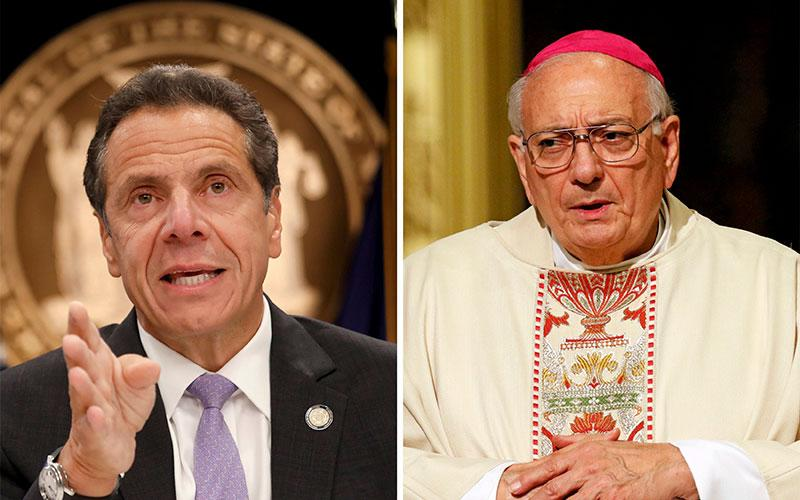 New York Gov. Andrew Cuomo and Bishop Nicholas DiMarzio of Brooklyn, N.Y., are seen in this composite photo.