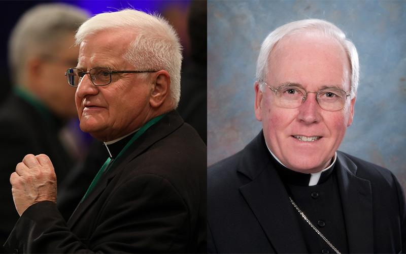 (Left) Auxiliary Bishop Edward M. Grosz of Buffalo, N.Y., participates in the spring general assembly of the U.S. Conference of Catholic Bishops in Baltimore June 13, 2019. Bishop Grosz retired March 2, 2020. (CNS photo by Bob Roller) (Right) Retired Bishop Richard J. Malone of Buffalo, N.Y., is pictured in an undated photo. (CNS photo courtesy Diocese of Buffalo)
