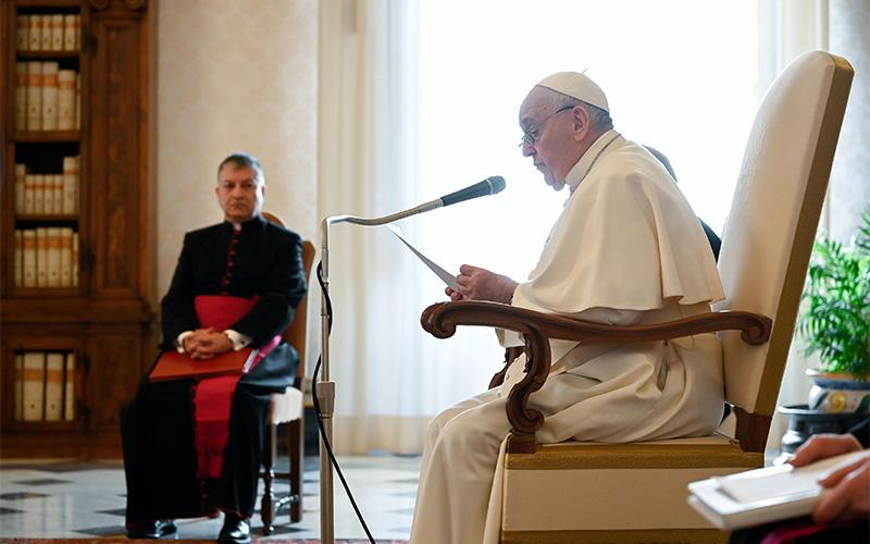 Pope Francis leads his weekly general audience from the library of the Apostolic Palace at the Vatican Jan 13, 2021.