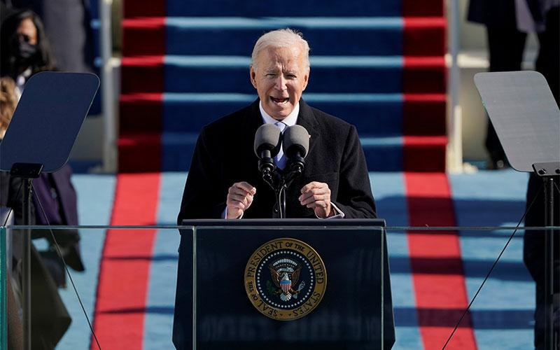 U.S. President Joe Biden speaks during his inauguration at the Capitol in Washington Jan. 20, 2021.