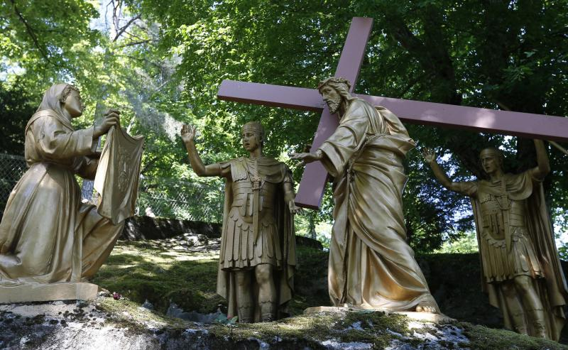 Veronica wipes the face of Jesus in this representation of the sixth Station of Cross at the Shrine of Our Lady of Lourdes in southwestern France.