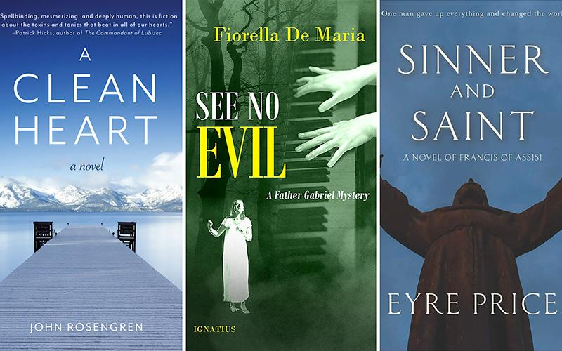 "These are the covers of ""A Clean Heart"" by John Rosengren; ""See No Evil: A Father Gabriel Mystery"" by Fiorella De Maria; and ""Sinner and Saint: A Novel of Francis of Assisi"" by Eyre Price."