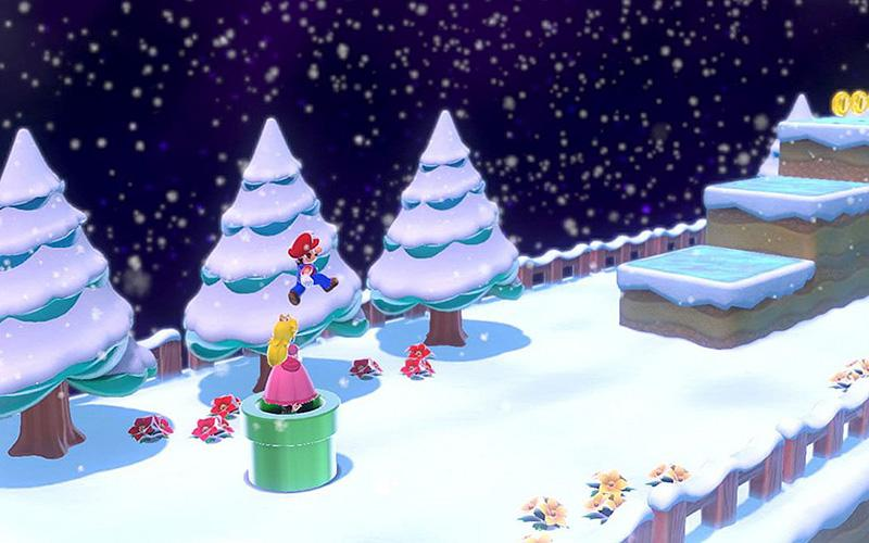 """This is a scene from the video game """"Super Mario 3D World + Bowser's Fury."""""""