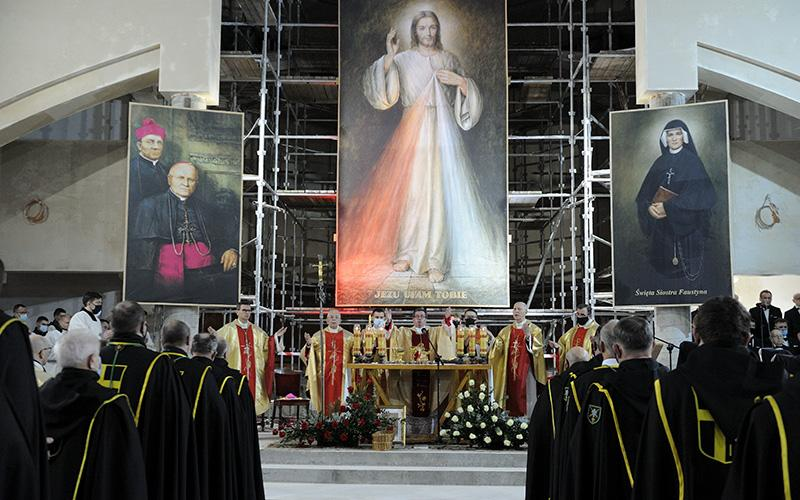 Archbishop Jan Pawlowski, an official at the Vatican Secretariat of State and papal delegate, celebrates Mass at the Divine Mercy Shrine in Plock, Poland, Feb. 22, 2021.
