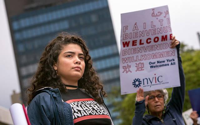 """""""Dreamer"""" Kemberly Gil Gachancipa takes part in a Sept. 8, 2017, rally to demand congressional action on the Deferred Action for Childhood Arrivals (DACA) program. (File photo)"""
