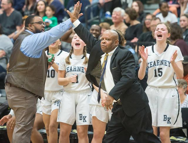 <p>Bishop Kearney coaches and players react to a play in the fourth quarter of the Section 5 Class AA sectional championship game March 3.  </p>