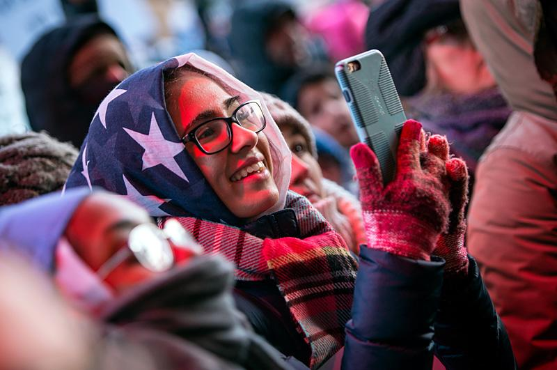 Fatima Shah protests outside of Rochester's City Hall Feb. 3.