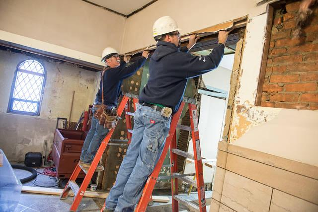 <p>Some of the renovation work taking place at Rochester&rsquo;s Our Lady of Victory Church, as seen on April 11. (Courier photo by John Haeger) </p>