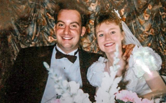 <p>Joe and Jennifer Ficcaglia on their wedding day Aug. 12, 1995.</p>