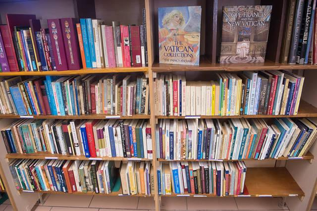 <p>A selection of books at the new St. Francis and St. Clare Parish library in Waterloo. (Courier photo by John Haeger) </p>