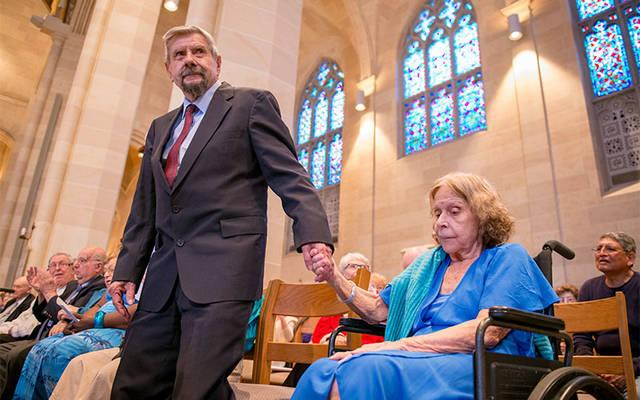 <p>During the annual Wedding Jubilee Mass at Rochester&rsquo;s Sacred Heart Cathedral May 6, Bob and Dee Crowell are recognized for their 69 years of marriage. (Courier photo by Jeff Witherow)  </p>