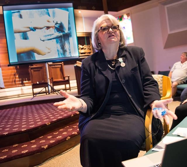 <p>Marlene Watkins of Our Lady of Lourdes Hospitality North American Volunteers leads the Lourdes Virtual Pilgrimage Experience May 8 at Sacred Heart Church in Auburn.  </p>