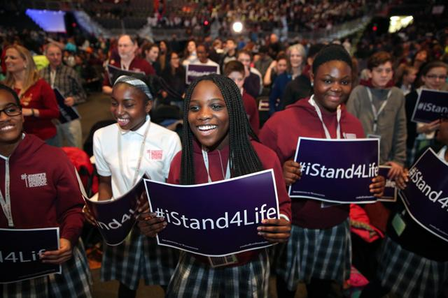 Students from St. Joseph's Regional School in Beltsville, Md. cheer during a pro-life youth rally and Mass at the Verizon Center in Washington Jan. 27 before the annual March for Life.