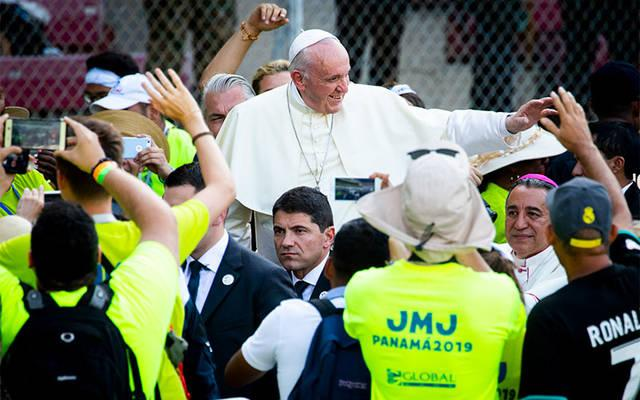 <p>Pope Francis arrives at Panama City&rsquo;s Rommel Fernandez Stadium Jan. 27, 2019, to thank World Youth Day volunteers for their service in making the event a reality. (CNS photo by Chaz Muth)  </p>