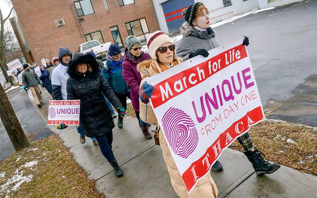 <p>More than 40 participants took part in the third-annual Ithaca March for Life Jan. 18.  </p>