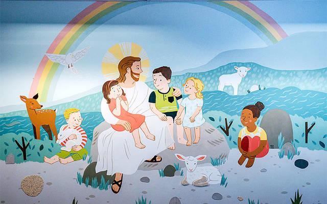 <p>The mural inside St. Pius Tenth Parish's new sensory-friendly worship room Feb. 19. (Courier photo by John Haeger) </p>