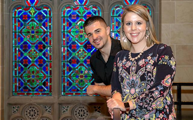 <p>Anthony Muscatella and Abbi Kelly each have a sibling who is a seminarian for the Diocese of Rochester. (Courier photo by Jeff Witherow) </p>
