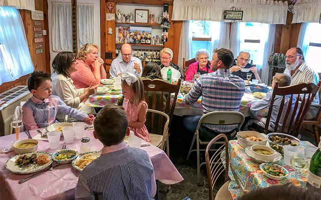 A Sunday dinner at the home of Anthony and Grace French in Waterloo. (Photo courtesy of Michelle [Grillone] French)