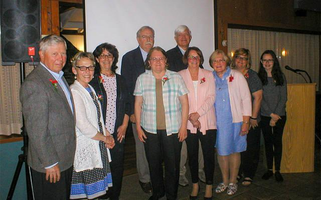 <p>Joe Skelly (from left), Mary Sue Skelly, Elinor Along-Messner, Doug Johnson, Sandee Johnson, Mark Mentuck, Sandy Mentuck, Peg Johnson, Tina Shannon and Rebecca Shannon pose for a photo after receiving Works of Love awards June 3. (Photo courtesy of Kathy Dubel)   </p>
