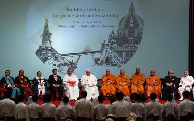 <p>Pope Francis meets with Christian leaders and the leaders of other religions at Chulalongkorn University in Bangkok, Thailand, Nov. 22. (CNS photo by Paul Haring)  </p>