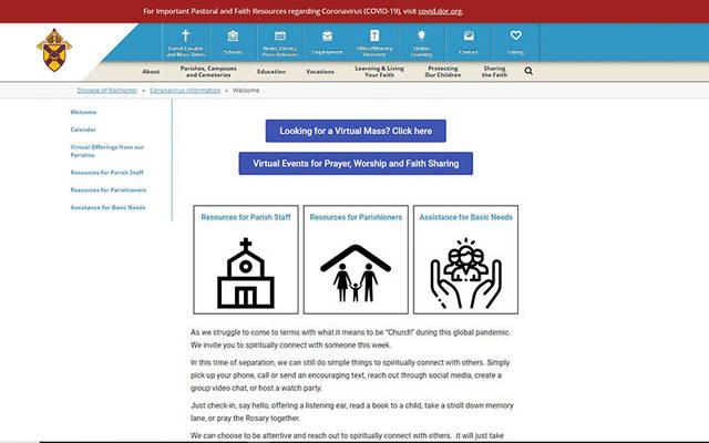 <p>This is a screen capture of the Diocese of Rochester&rsquo;s COVID-19 resource page at <em>https://covid.dor.org</em>.  </p>