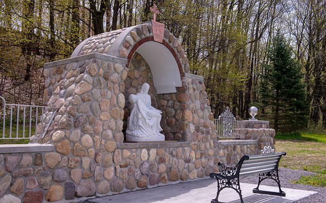 <p>John Landino built a Marian shrine on his property in Steuben County. (Courier photo by Jeff Witherow)  </p>