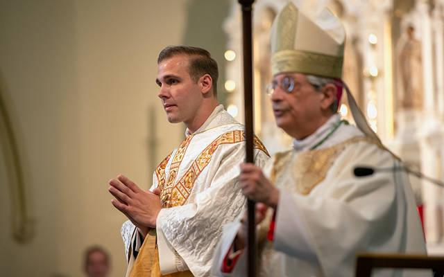 <p>Father Joseph Martuscello and Bishop Salvatore R. Matano stand together at the end of the priest ordination Mass June 13 at Corning&rsquo;s St. Mary Church. (Courier photo by Jeff Witherow)  </p>